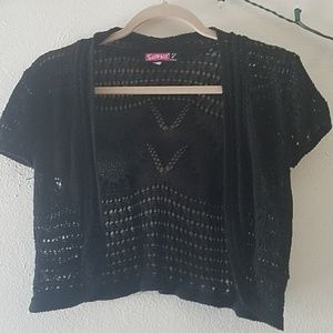 Black crochet cropped cover up